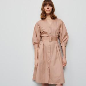 Różowa sukienka Reserved w stylu casual z długim rękawem z bawełny