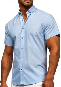 Niebieska koszula Denley z bawełny z krótkim rękawem