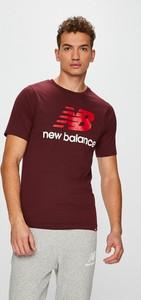 Czerwony t-shirt New Balance z krótkim rękawem z bawełny