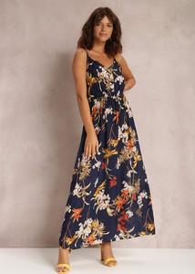 Granatowa sukienka Renee na ramiączkach z dekoltem w kształcie litery v maxi
