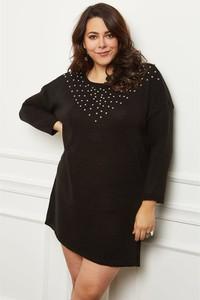 Czarna sukienka Curvy Lady w stylu casual z długim rękawem mini