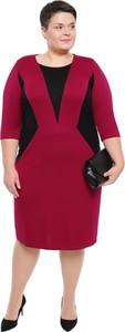 3d61dc79e120c1 Sukienka modneduzerozmiary.pl midi z długim rękawem z okrągłym dekoltem