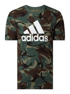 Zielony t-shirt Adidas Performance z krótkim rękawem w militarnym stylu