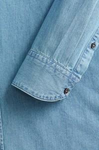 Niebieska koszula Mango Man z klasycznym kołnierzykiem z długim rękawem z jeansu