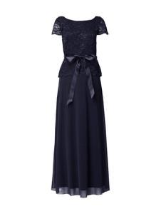 Niebieska sukienka Christian Berg Cocktail baskinka w stylu glamour z okrągłym dekoltem