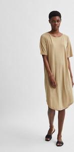 Sukienka Selected Femme z okrągłym dekoltem z lnu midi