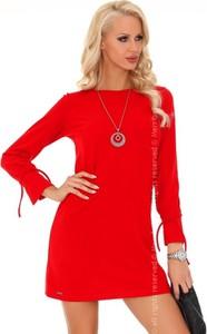 Sukienka MERRIBEL mini z okrągłym dekoltem z długim rękawem