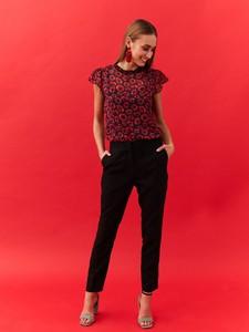 Granatowa bluzka Top Secret z okrągłym dekoltem z szyfonu