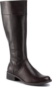Czarne kozaki Caprice z płaską podeszwą przed kolano
