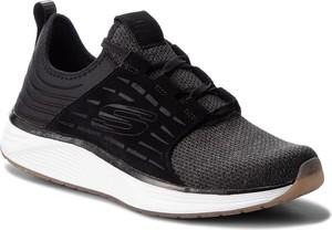 Czarne buty sportowe Skechers ze skóry sznurowane w sportowym stylu