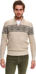 Sweter Top Secret z wełny w młodzieżowym stylu ze stójką