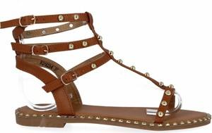 Brązowe sandały Bellicy w stylu casual z płaską podeszwą z klamrami