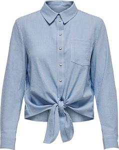 Niebieska koszula Only z kołnierzykiem z długim rękawem