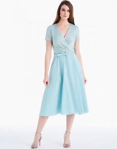 Turkusowa sukienka POTIS & VERSO z dekoltem w kształcie litery v z dzianiny