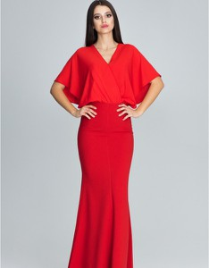 Czerwona sukienka Figl z krótkim rękawem z dekoltem w kształcie litery v maxi