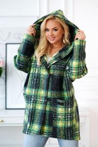 Zielony płaszcz Sklep XL-ka w stylu casual z bawełny
