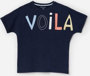 Granatowa koszulka dziecięca Reserved z bawełny