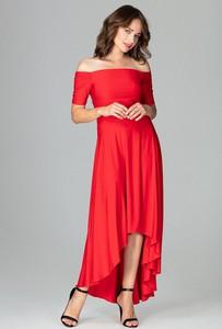 Czerwona sukienka LENITIF maxi asymetryczna z krótkim rękawem