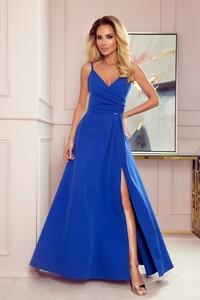 Niebieska sukienka NUMOCO z dekoltem w kształcie litery v maxi