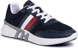 Granatowe buty sportowe Tommy Hilfiger z zamszu