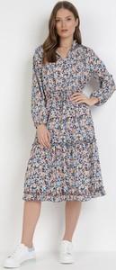 Granatowa sukienka born2be midi z długim rękawem