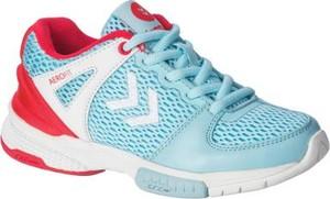 Niebieskie buty sportowe Hummel z płaską podeszwą sznurowane