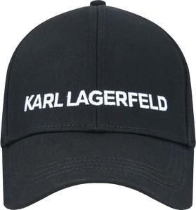 Czarna czapka Karl Lagerfeld z nadrukiem