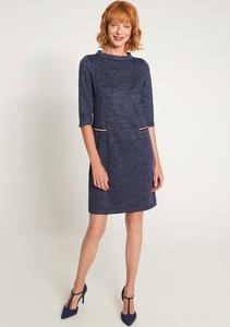 Niebieska sukienka QUIOSQUE prosta z długim rękawem mini