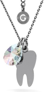 GIORRE SREBRNY NASZYJNIK ZĄB SWAROVSKI GRAWER 925 : Kolor kryształu SWAROVSKI - Crystal AB, Kolor pokrycia srebra - Pokrycie Czarnym Rodem