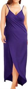 Fioletowa sukienka Arilook midi z dekoltem w kształcie litery v
