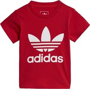 Czerwona koszulka dziecięca Adidas Originals z krótkim rękawem