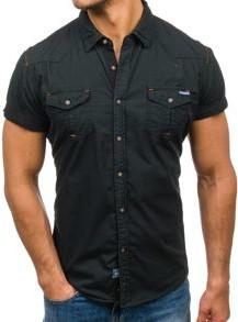 Czarna koszula Denley w stylu casual z krótkim rękawem z bawełny