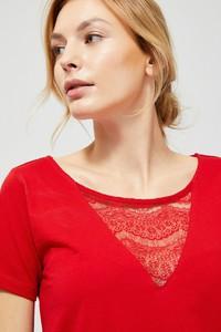 Bluzka Moodo z dekoltem w kształcie litery v z bawełny