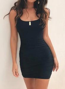 Czarna sukienka Arilook na ramiączkach mini z dresówki