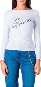 Bluzka Guess z okrągłym dekoltem z długim rękawem