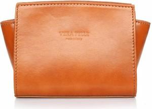 Pomarańczowa torebka Vera Pelle matowa przez ramię średnia