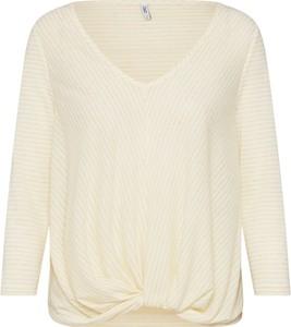 Żółta bluzka Only z dżerseju z dekoltem w kształcie litery v