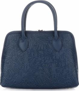 Eleganckie torebki skórzane kuferki firmy genuine leather granatowe