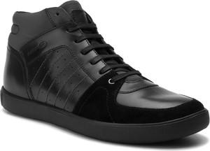 Czarne buty zimowe Geox sznurowane ze skóry ekologicznej