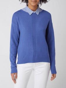 Niebieska bluzka Christian Berg z dekoltem w kształcie litery v z długim rękawem w stylu casual