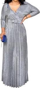 Srebrna sukienka Arilook z dekoltem w kształcie litery v z długim rękawem