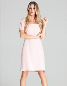 Różowa sukienka Figl z krótkim rękawem