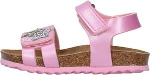 Buty dziecięce letnie Geox dla dziewczynek ze skóry na rzepy
