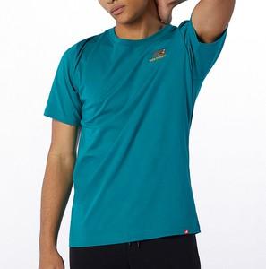 Niebieski t-shirt New Balance z krótkim rękawem z dzianiny