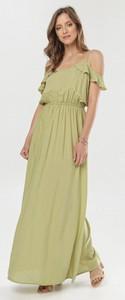 Zielona sukienka born2be maxi z krótkim rękawem