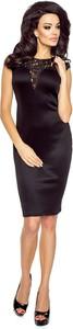 Czarna sukienka SALE midi bez rękawów dopasowana