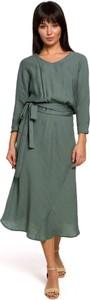 Sukienka Be midi z tkaniny z długim rękawem