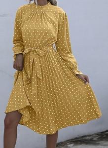 Żółta sukienka Cikelly w stylu casual z długim rękawem