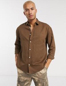 Brązowa koszula Asos z lnu