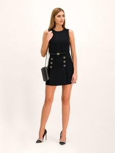 Czarna sukienka Elisabetta Franchi bez rękawów mini z okrągłym dekoltem